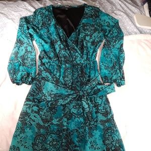 Espresso long Teal dress with black